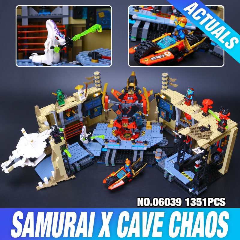 ФОТО LEPIN 06039 1351Pcs Phantom Samurai X Cave Chaos Model Building Kit  Blocks Bricks Toy Compatible 70596