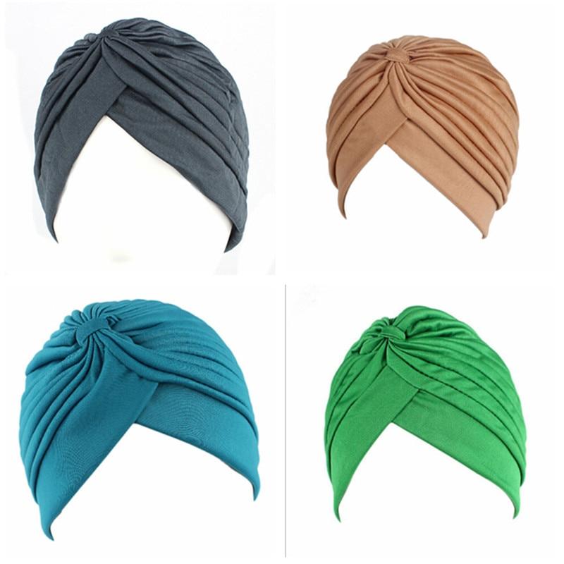 24 Colors Muslim Turban Caps Women Elastic Stretchy Beanies Hats Bandanas Big Satin Bonnet Indian