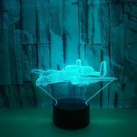 Vliegtuigen 3d Lamp Multi color Afstandsbediening 3d Tafel Lampen Voor Woonkamer Touch Desktop Creatieve 3d Led Night Desk lamp