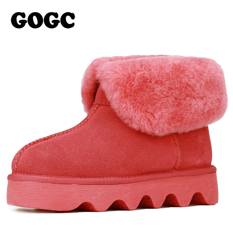 GOGC 2018 Snowshoes Women's Winter Boots with Wool Warmful Fur Lined Ankle Boots for Women Genuine Leather Winter Shoes 9727 - 2