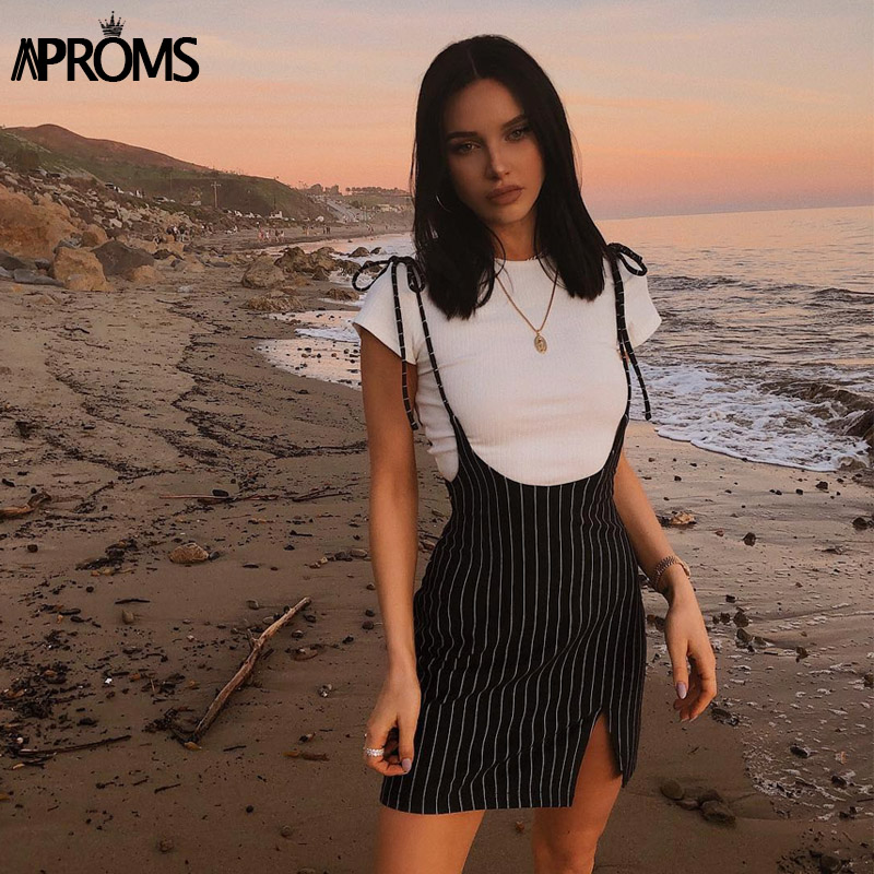 Aproms Black Stripes Pinafore Mini Dress Women Summer Sexy Streerwear Tie Up Shoulder Dresses Side Split Sundresses Vestido 2019