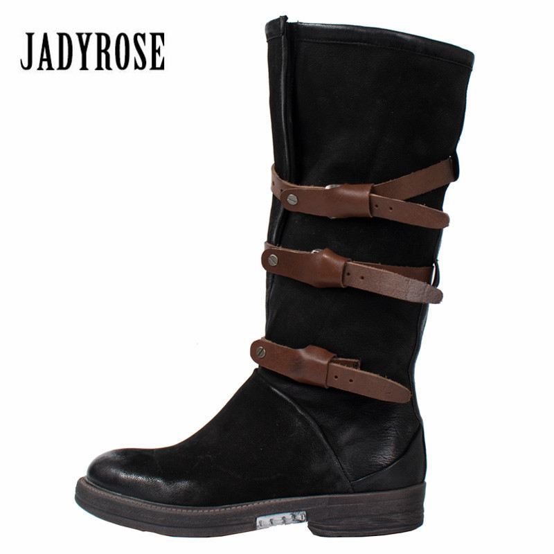 Jady Rose Black Women High Boots Genuine Leather Autumn Winter Riding Boot Flat Platform Shoes Woman Straps Long Boots Rubber jady rose casual gray women ankle boots straps genuine leather short flat botas autumn winter female platform martin boot
