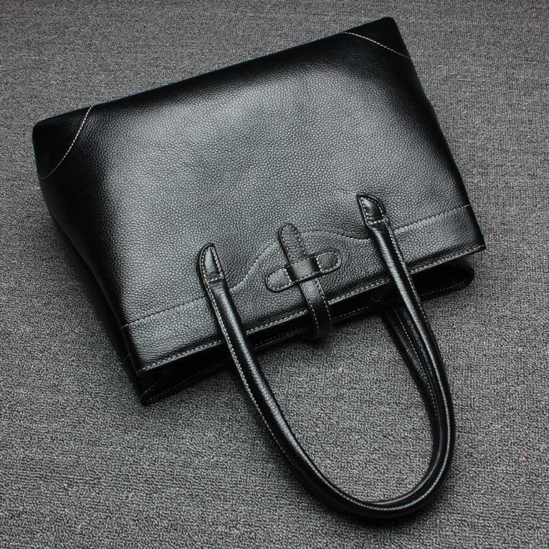 Business Women Handbag Black 100% Genuine Leather Tote Purse Fashion Lady Shoulder Messenger Crossbody Bags Super Quality