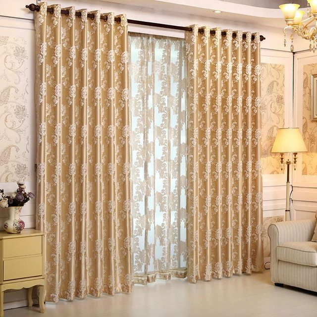 Hot Selling Luxury European Style Curtains Jacquard Pattern Kitchen Window  Curtains Bedroom Window Panels 1 Piece
