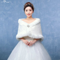 LZP137 Vrouwen Classic Off Schouder Crystal Speciale Patroon Off White Faux Fur Wrap Winter Sjaal Bruiloft