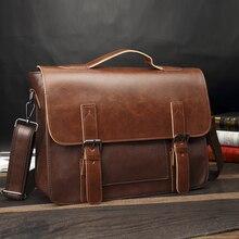 Crazy Horse Artificial Leather Business Handbag Laptop Briefcases for Men Leathe