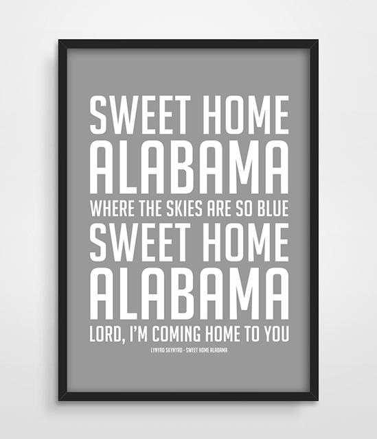Song Lyric Art Typographic Print Sweet Home Alabama Lynyrd Skynyrd Music Living Room Decor 70s Wall Picture