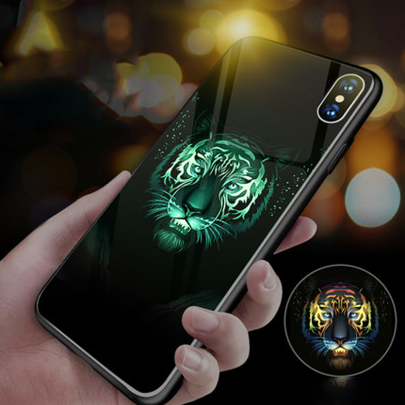 Tiger Wolf Lion Ghost <font><b>Luminous</b></font> Glass Phone <font><b>Case</b></font> For <font><b>iPhone</b></font> 11 Pro XSmax XR XS X 8 7 <font><b>6</b></font> 6s 5 SE Plus Luxury Silicone Cover Coque image