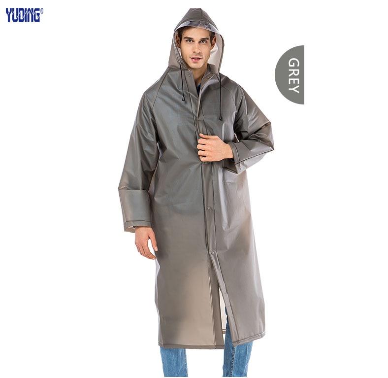 Yuding Long Raincoat EVA Thick <font><b>Men</b></font> Rainwear Waterproof Hiking Tour Hooded Rain Coat