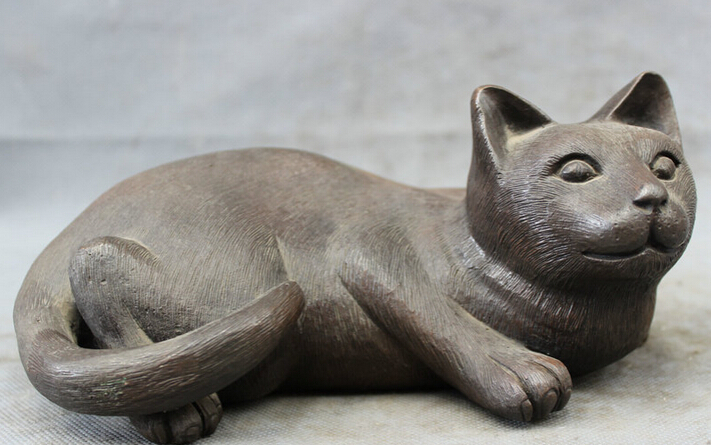 S2876 Chinese Pure Bronze Copper Folk Carved Animals Lying Lovely Docile Cat Statue D0318