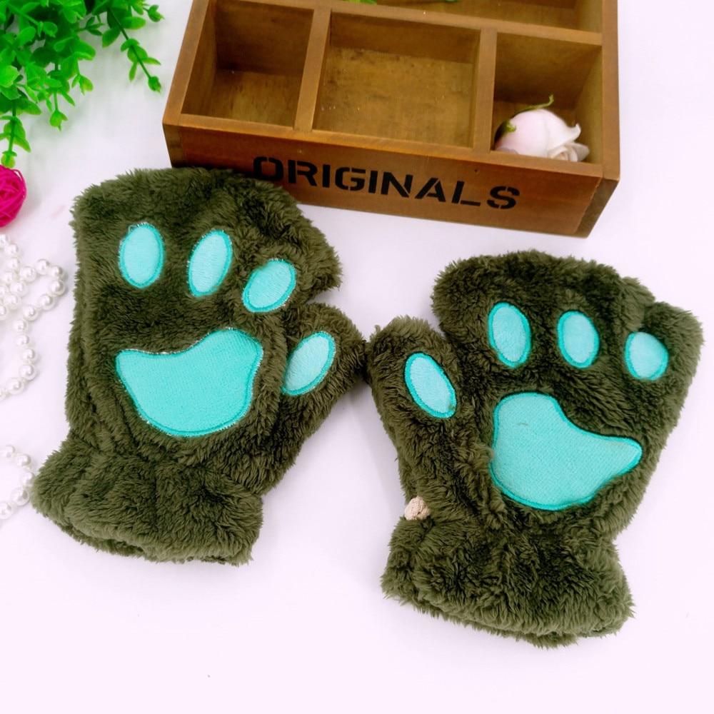 Ladies Black Gloves Cat Bear Claw Paw Plush Warm Short Finger Half Gloves AT