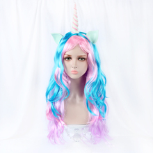 """""""28"""""""" Unicorn Cosplay Wig Long Natural Wave Synthetic Fake Hair 340g/pcs Club Party Wigs For White Women Heat Resistant Pink Blue"""""""