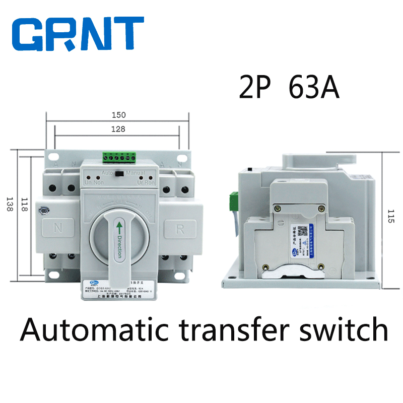 2P 63A 230V MCB type Dual Power Automatic transfer switch ATS-in ...