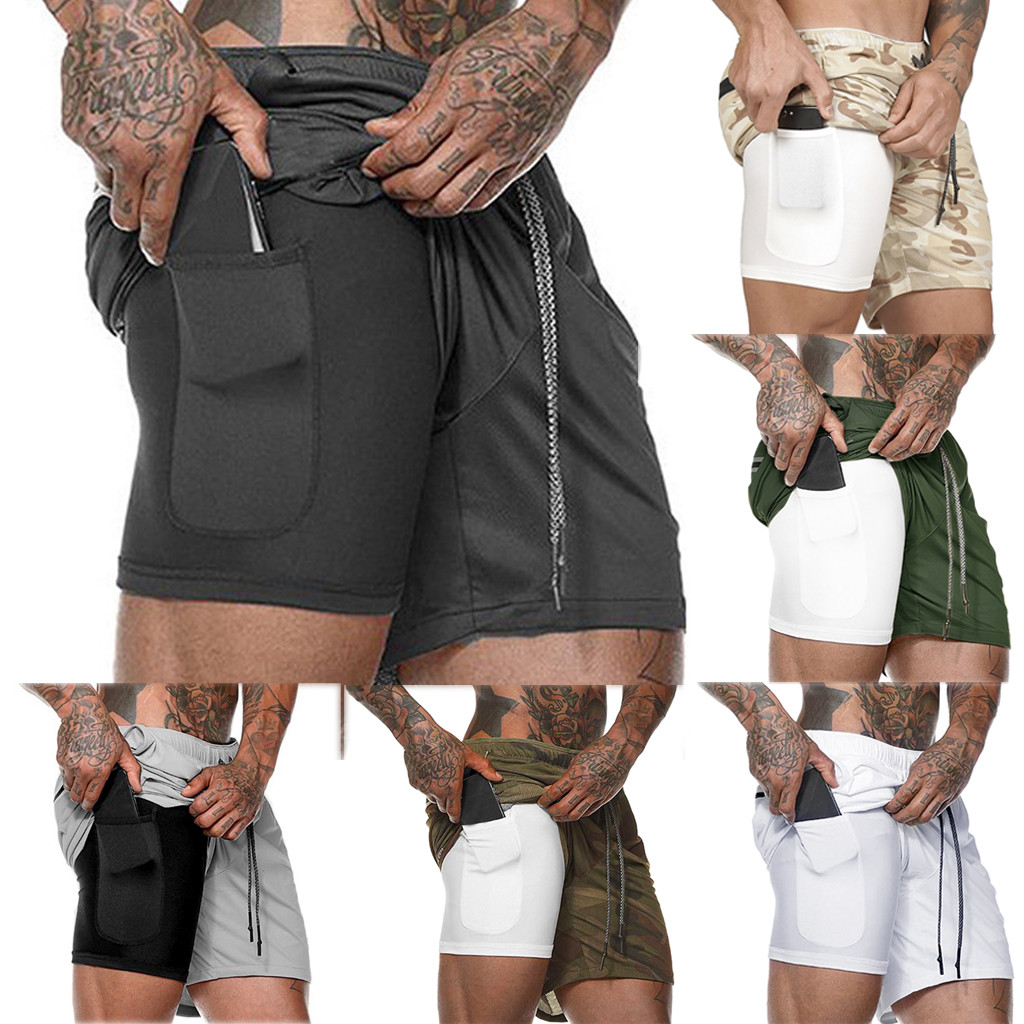 2019 Popular Brand Men's Summer Fast Drying Pockets Inside Training Running Sports Shorts Casual Solid Streetwear New