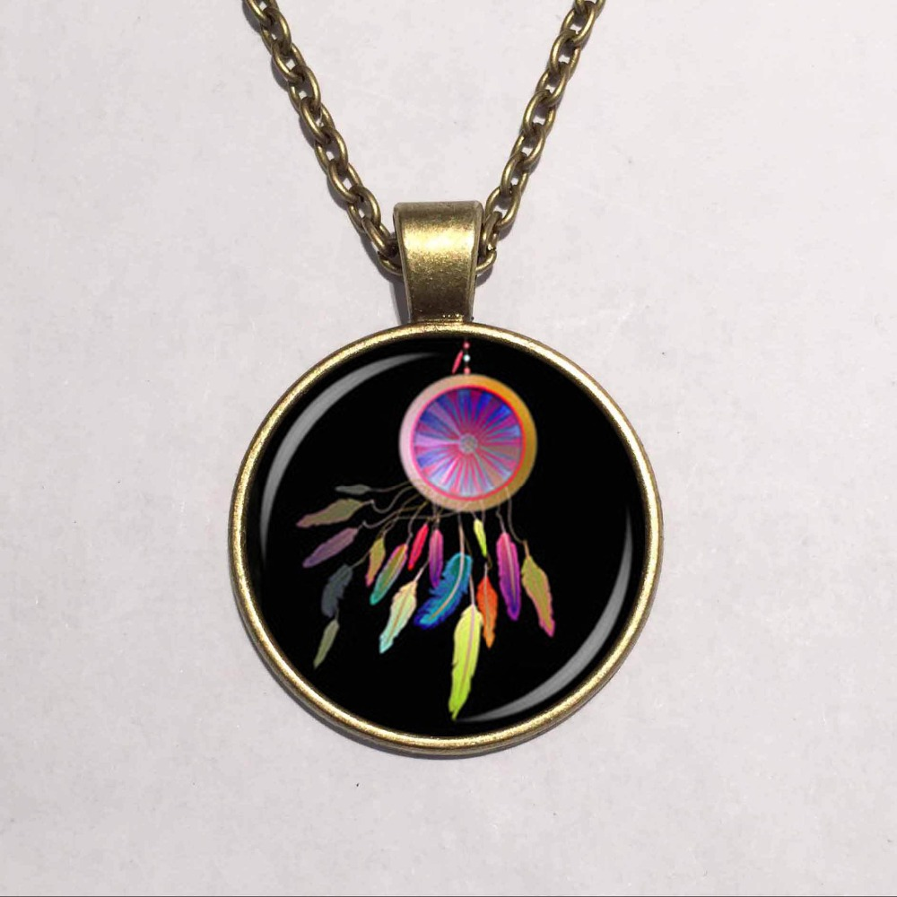 Glass Dome Cabochon Lovely Native American Dreamcatcher