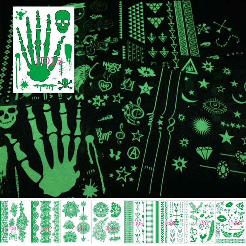 2018 New 1 Pc Glow In The Dark Luminous Flash Tattoo Sticker Skeleton Gold Metal Waterproof Tattoo Fluorescent Noctilucent Night