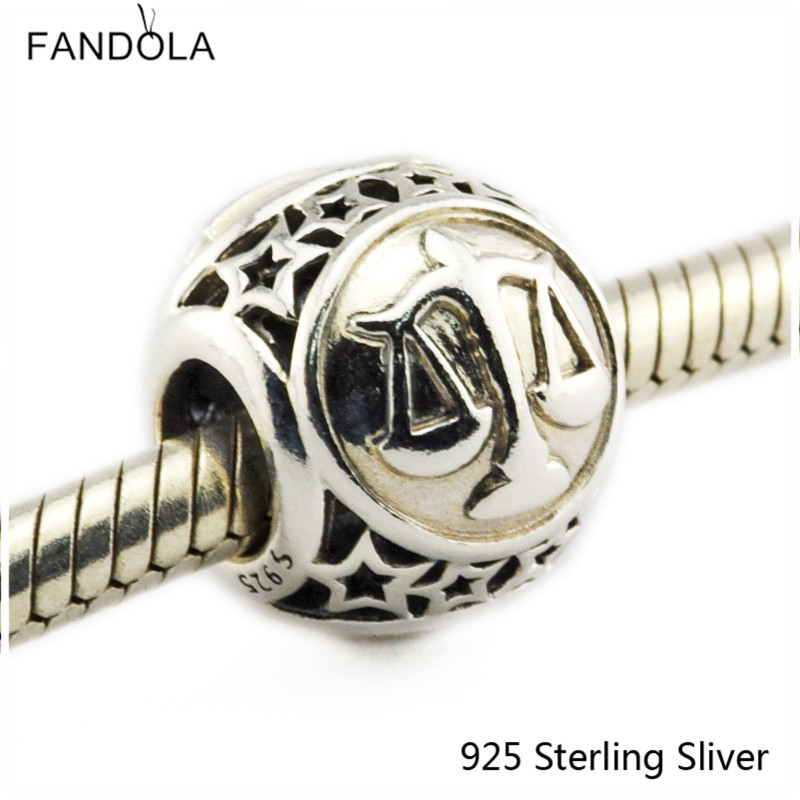 Libra Star Sign 925 Sterling Silver Charm Beads Fits For Pandora Bracelet Charms for DIY Fine Jewelry