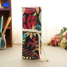 Fashion Canvas Storage Pencil Case 36 48 72 Holes Roll Student DIY Painting Pencil Bag cartucheras