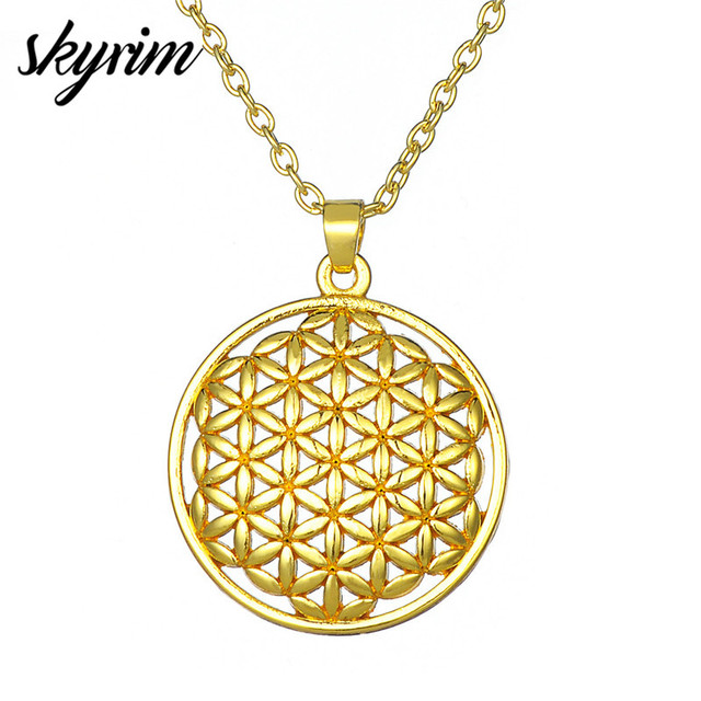 6eeee03afd Skyrim Flower of Life Pendant Necklaces Luxury Gold Religious Round Charm  Long Link Chain Fashion Necklace Jewelry for Women