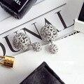 Luxury Hollow Double Ball Stud Earring for Women Jewelry Plated  Earing Celebrities CZ Diamond Earrings Fine jewelry