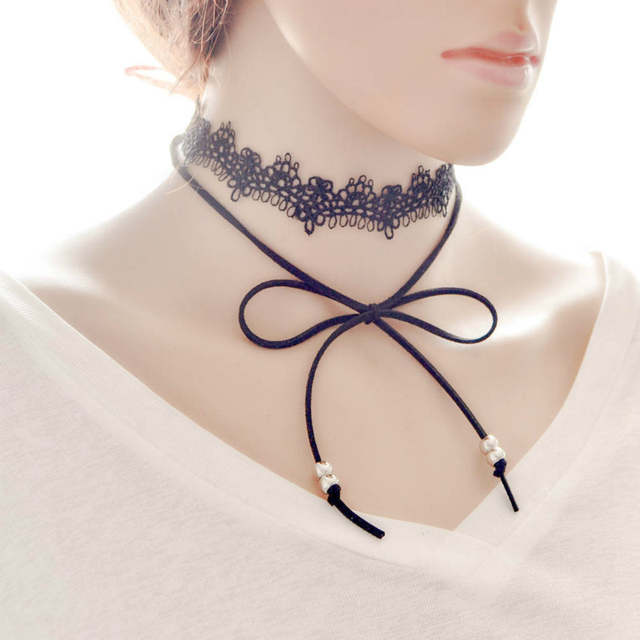 826f29b9842b9 US $0.92 13% OFF|Elegant Sexy Black Lace Chocker Faux Suede Tie Bow Gothic  Chocker Beaded Double Wrap Chokers 2016 New Necklace Jewelry for Women-in  ...