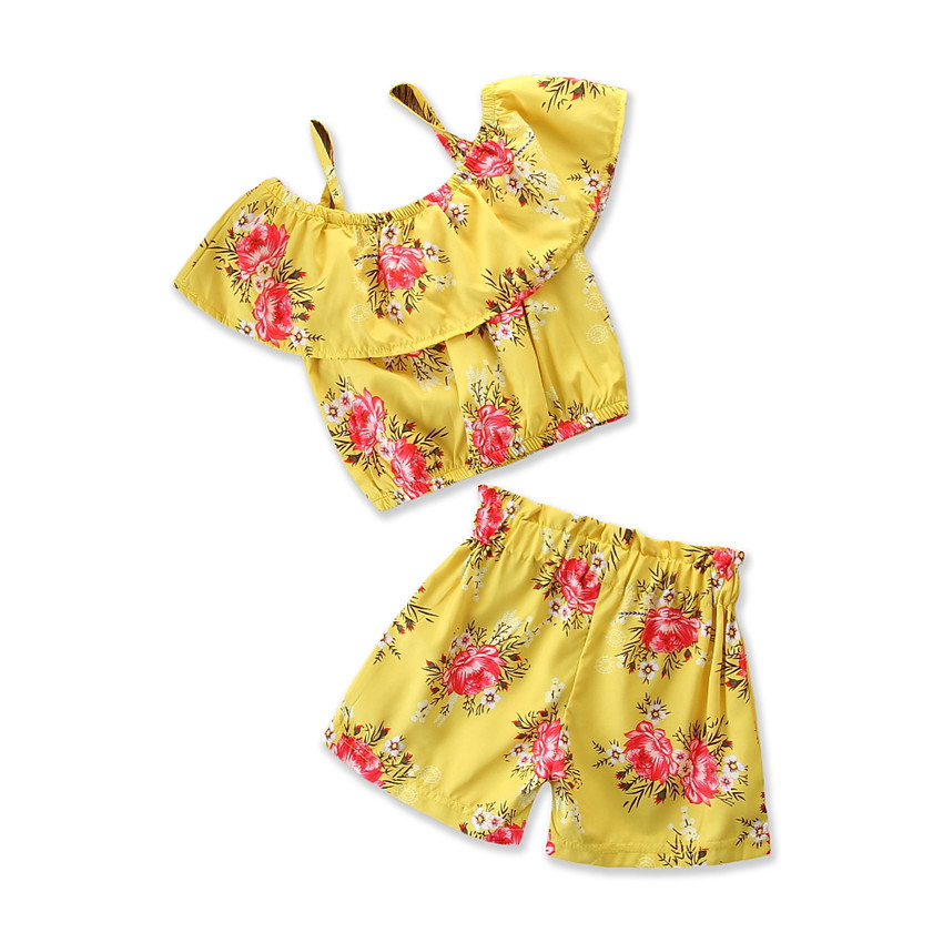 Toddler Summer Floral Print 2 Piece Set Girls Shorts and ...
