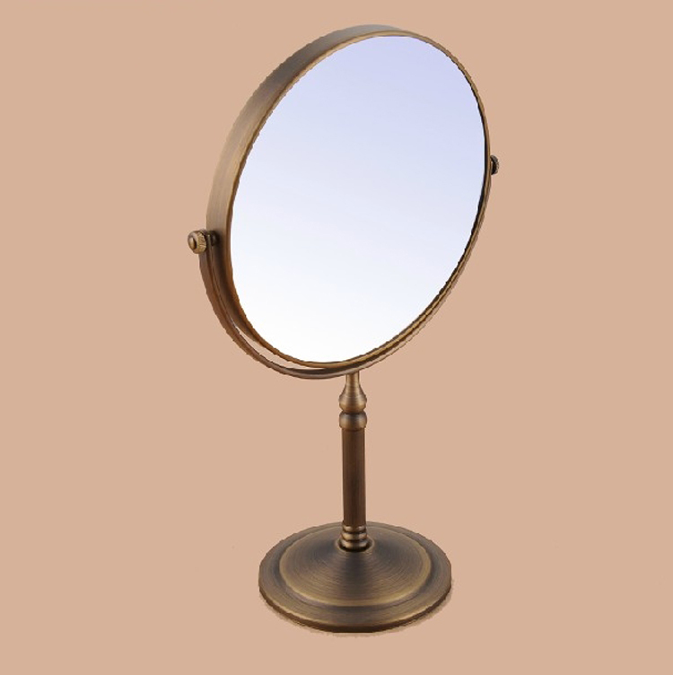 Antique Brushed Brass Desktop Double Side 8 Inch Mirror Shave Makeup 3x Magnifying Mirror Bathroom Bedroom