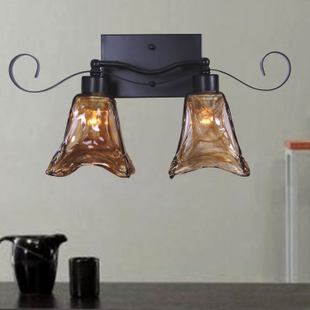 American double head wall lamp European retro bedroom bedside balcony aisle lamp tea color glass iron mystery wall lampAmerican double head wall lamp European retro bedroom bedside balcony aisle lamp tea color glass iron mystery wall lamp