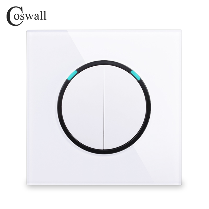 Coswall New Arrival Crystal Glass Panel 2 Gang 2 Way Random Click Push Button Wall Light Switch With LED Indicator