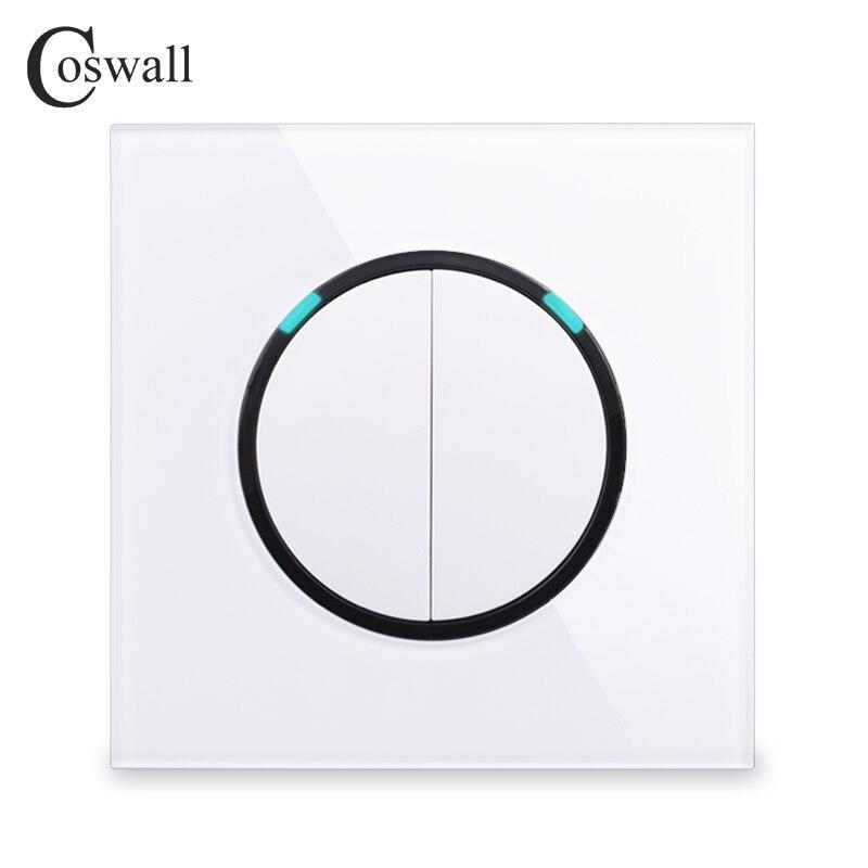 Coswall nuevo Panel de cristal de la llegada 2 Gang 2 Way botón de presión aleatorio interruptor de luz de pared con indicador LED