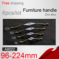 A8022 96/128/160/224mm wooden clothes wardrobe cabinets doors drawer computer desk European style handle, zinc alloy