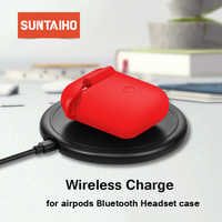 Suntaiho for Airpods Case Qi Wireless Charger For Apple airpods cover Wireless Charging earphone Cover Earphone Case bag i12 i13