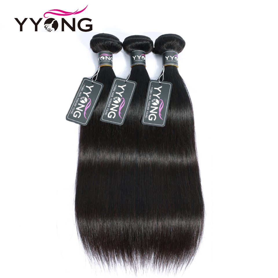 Yyong Straight Hair Weave 3 Bundles Natural Color Peruvian 100% Human Hair Bundles Deals 3 Pcs/Lot 100% Non Remy Hair Extensions