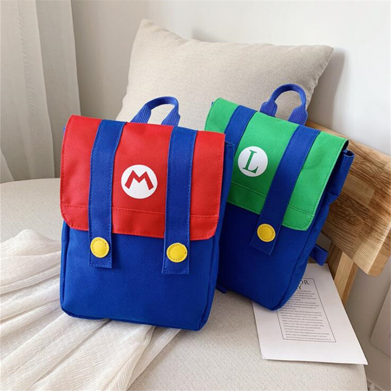 Hot New Super Mario Children Cartoon Backpack Cosplay Color Blocking Canvas Satchel Cute Red Yellow Anime Bag Schoolbag