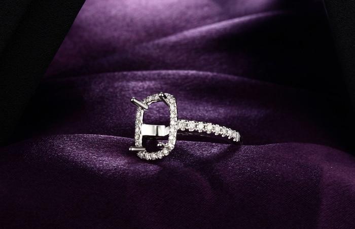 7x10mm Cushion14k Gold Diamond Vinage Style Engagement Semi Mount Ring
