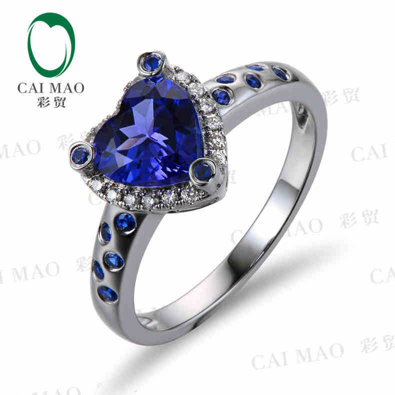 CaiMao 18KT/750 White  Gold 1.35 ct Natural IF Blue Tanzanite AAA  0.19 ct Full Cut Diamond Engagement Gemstone Ring Jewelry