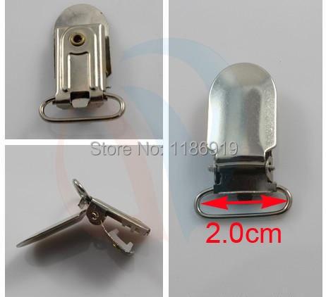 wholesale Inner 2.0cm,25pcs/lot,silver Lead Free Suspender Ribbon Clips Holder Plastic Insert braces clip gallus clamp clincher