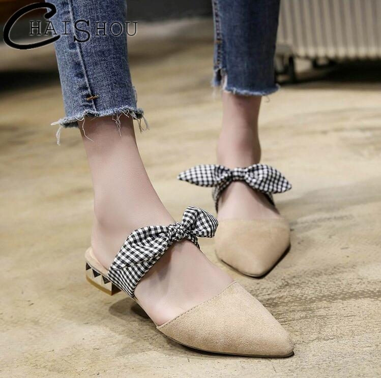 Bow tie Flat Women Mules Pointed Toe Leather Fashion Casual Flats slippers Women shoes Slip on Summer Flat sandals Women U169 fashion women flat heels shoes slip on pointed toe flats fringed women shoes slippers casual flip flops sandals slides women page 4 page 5 page 5 page 2 page 2