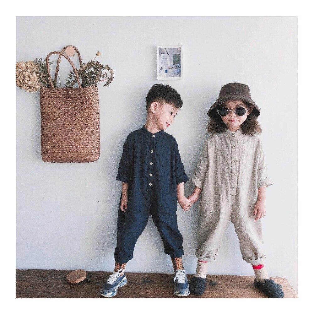 Helder Nieuwe 2019 Lente Unisex Kids Overalls Katoen Linnen Losse Broek Koreaanse Stijl Baby Jongens Meisjes Jumpsuits Kinderen Kleding Matige Prijs