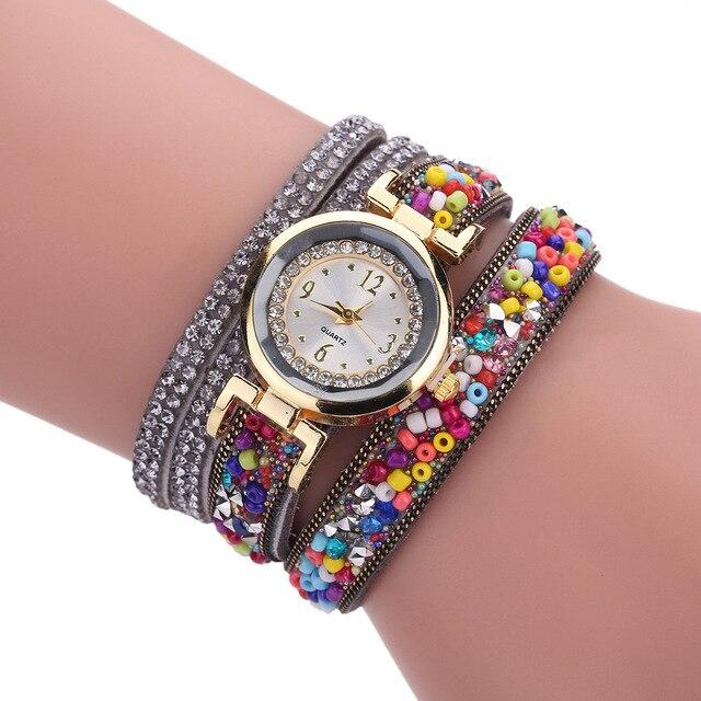 Fashion Luxury Leather Watch Women Classic Crystal Decor Bracelet Watch Ladies C