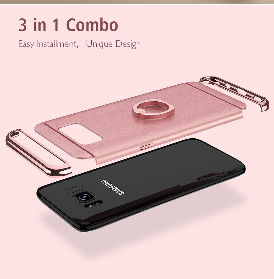 Ring Holder Cover For Samsung Galaxy S8 Plus S8 Case 3 in 1 Combo Armor Stand Phone Bag Cases  (5)