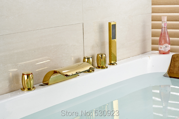 купить Newly US Free Shipping Luxury Waterfall Widespread Bathtub Faucet Three Handles Golden Polish With Handheld Shower Deck Mounted дешево