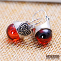 S925 silver jewelry wholesale jewelry Vintage Silver Garnet Earrings Earrings mosaic female factory direct mixed batch