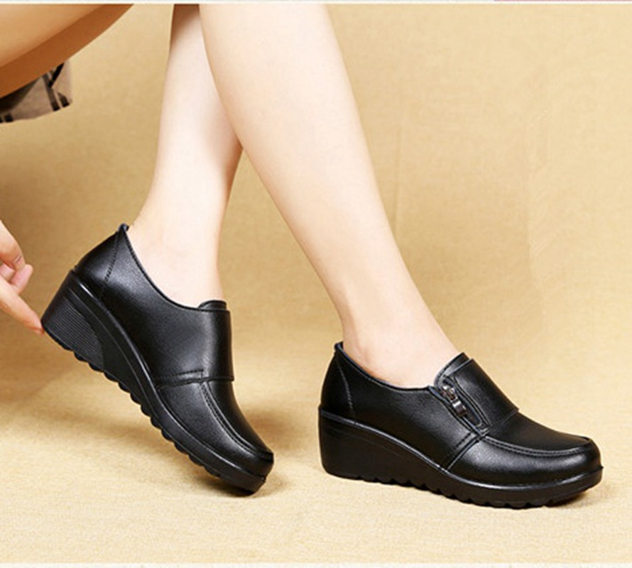 Image 5 - ZZPOHE  Spring Autumn Women's fashion Pumps shoes woman genuine leather wedge single casual shoes mother high heels shoes-in Women's Pumps from Shoes