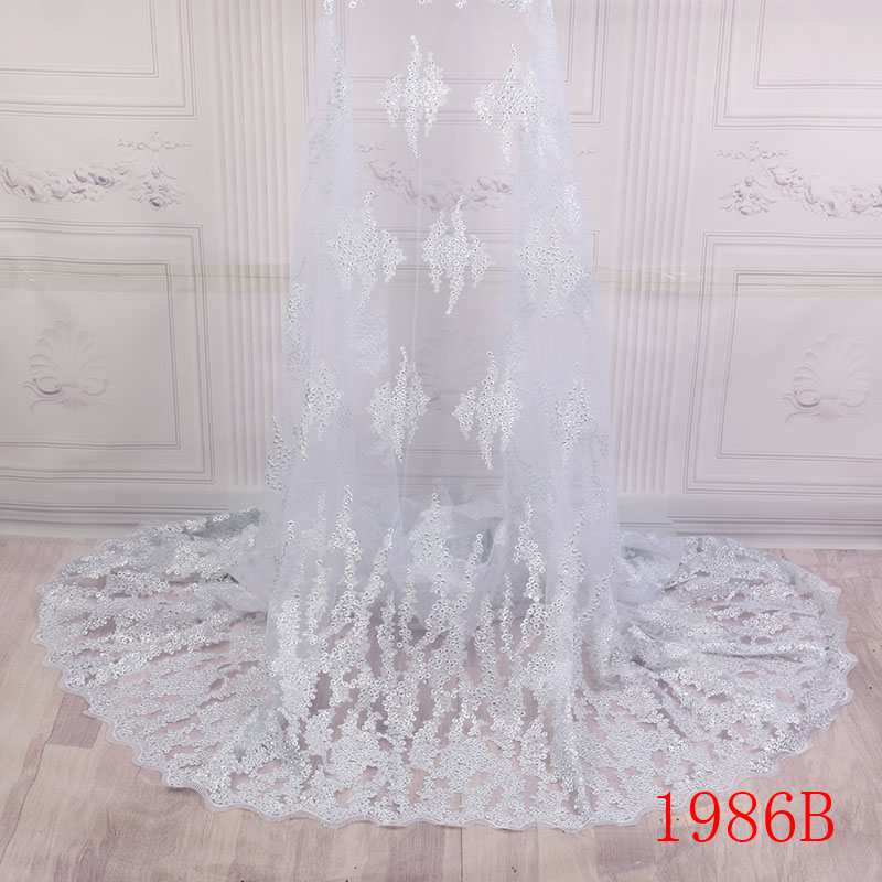 Pure White Tulle Lace Fabric Nigerian Embroidered Lace For Party Dress High Quality Fashionble African Sequins
