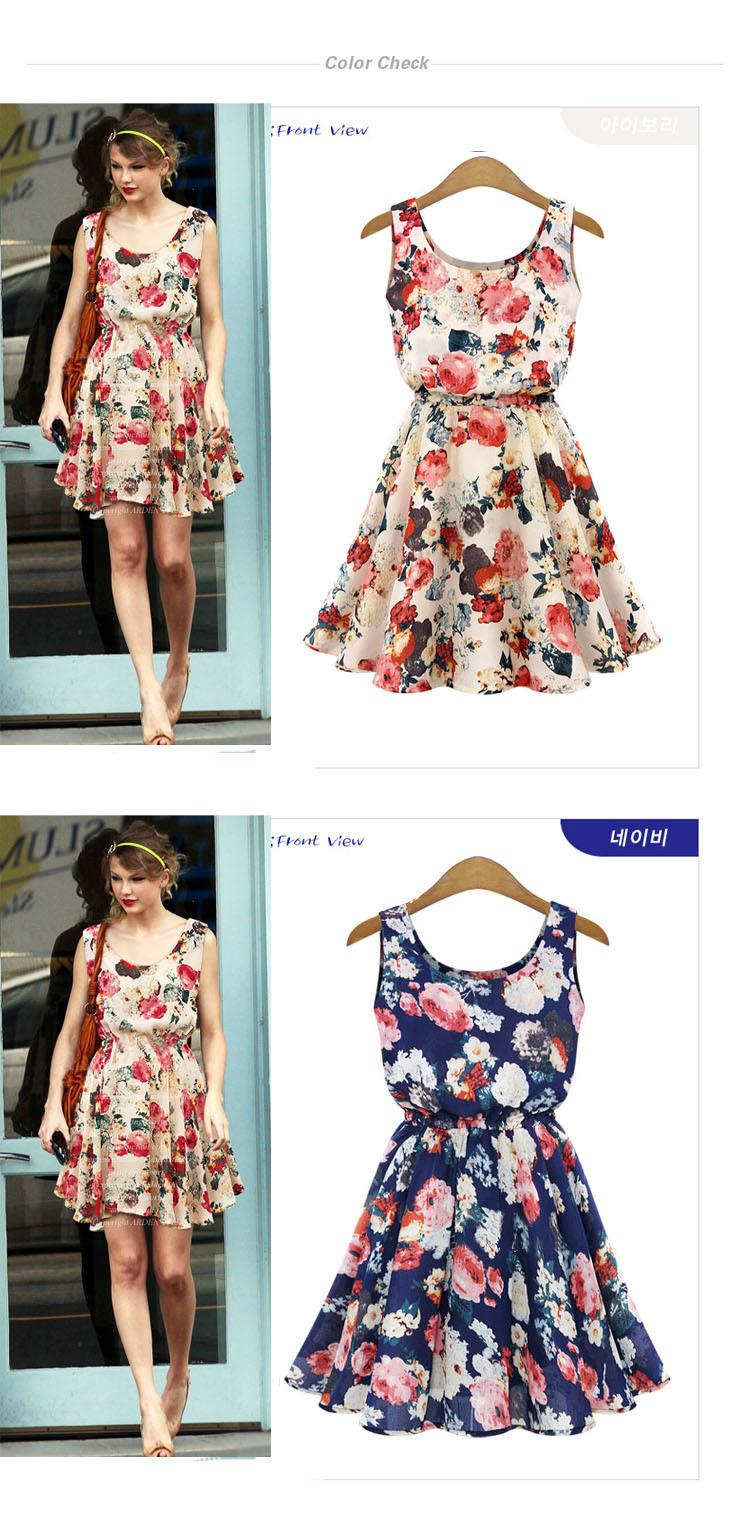 Summer Dress O-Neck Florals Print Formal Dress 7