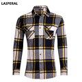 LASPERAL Shirt Men 2017 Long Sleeve Cotton Embroidery Men Striped Shirts Large Size Clothing Menwears Causal Men Shirt Us Size