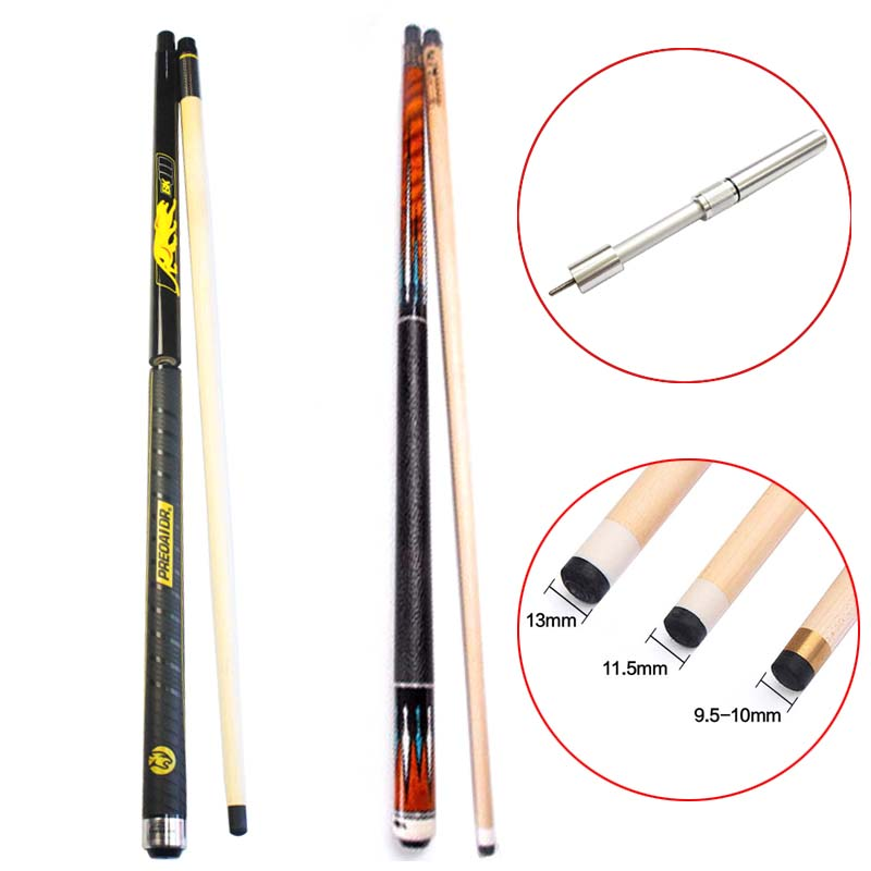 8K4 China 8 Pieces Laminated Billiard Pool Cues Stick 11.5mm 12.75mm 10mm Tip with Telescopic Extension ,BK3 Punch Jump Cue 2018