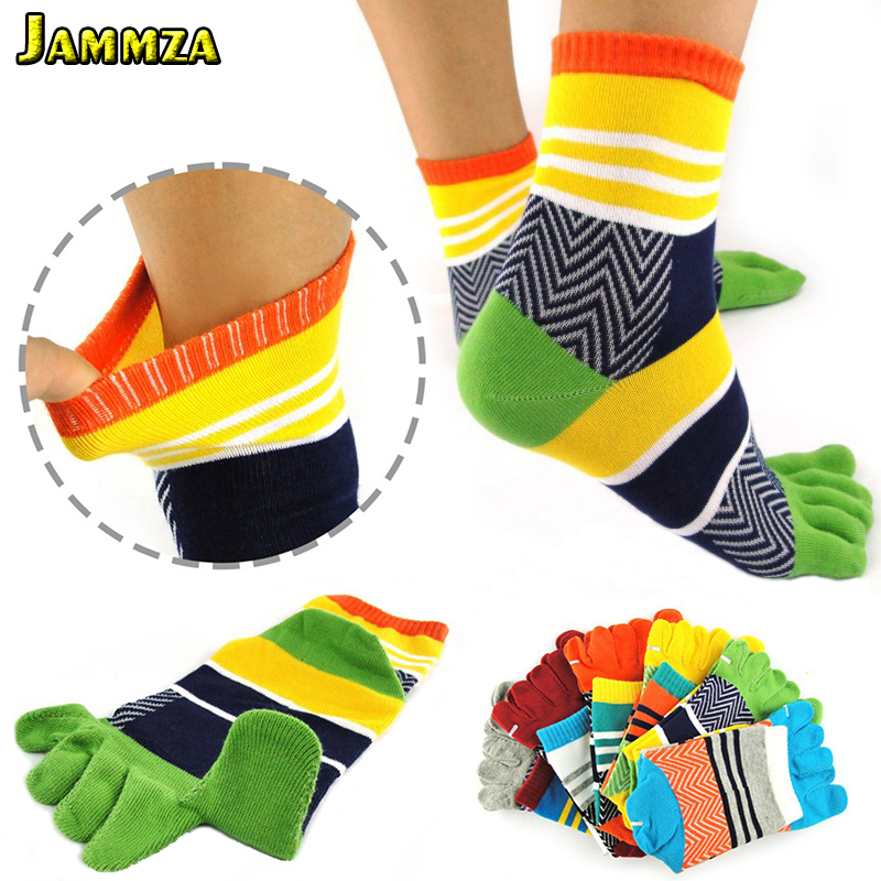 Men Brand Cotton Toe   Socks   Five Fingers Colorful Breathable Sweat Casual Stripe   Socks   bamboo fiber Male Meias High Quality Crew