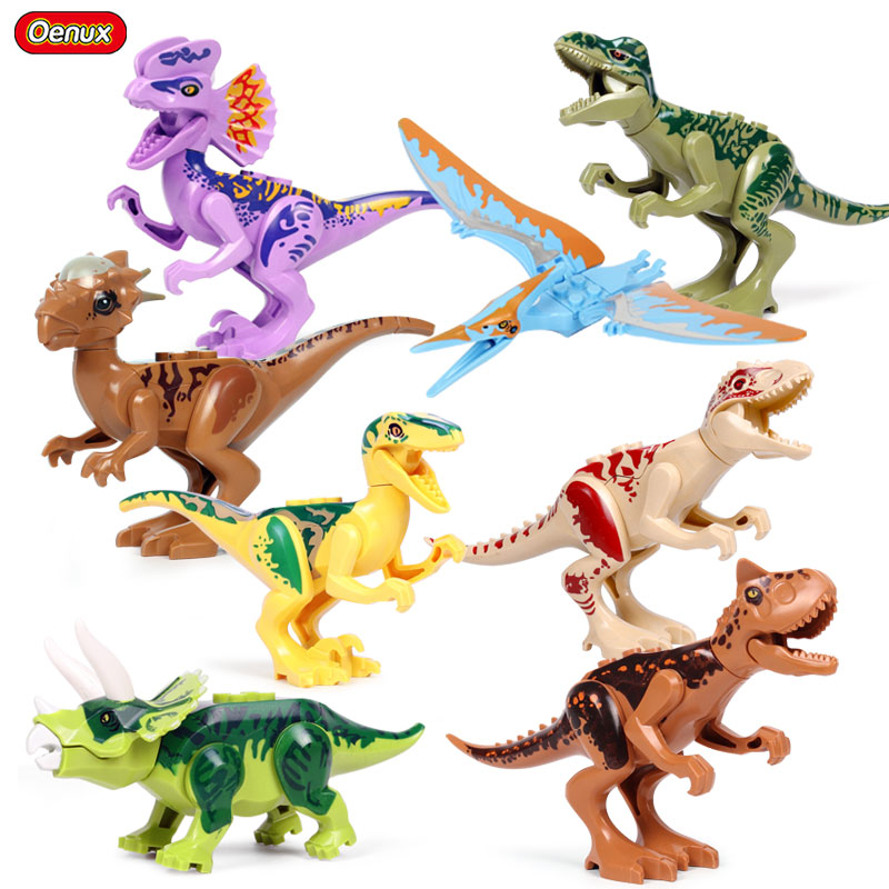 Oenux New Arrival Jurassic Dinosaur Building Block Toy Stygimoloch Indoraptor Carnotaurus T-Rex Model Figures Brick Toy For Kids